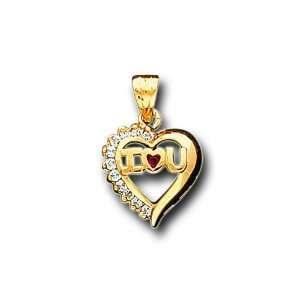 14K Yellow Gold Round CZ I Love You Heart Charm Pendant