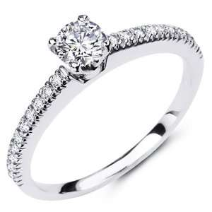 14K White Gold Round cut Diamond Ladies Women Wedding Engagement Ring