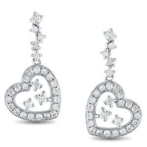 14k White Gold, Diamond Heart Drop Earrings (.5 cttw, G H