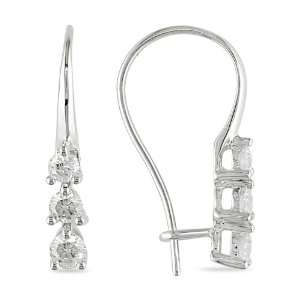 10k White Gold, Diamond Drop Earrings, (.5 cttw, GH Color