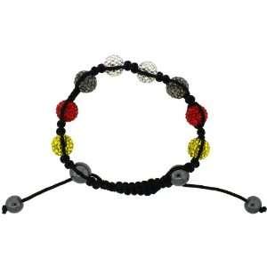 Multi Color Crystal Disco Ball Adjustable Unisex Macrame Bead Bracelet