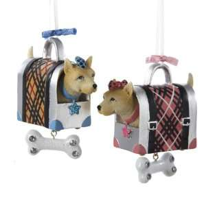Club Pack of 12 Boy and Girl Dog in Doggy Carrier Christmas Ornaments