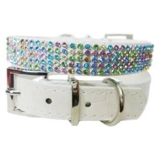 Luxury Leather Rhinestone Dog Collar, White   Small 13