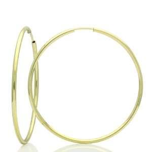 Gold Hoop Earrings 1.5mm X 1.9 Round Tube Yellow Gold Hoop Earrings