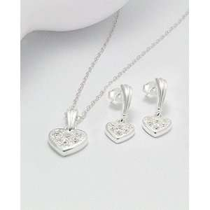 Silver heart shaped Earring Necklace Set~#535
