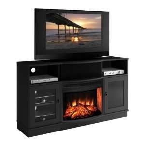 Console w/ Curved Front Electric Fireplace