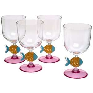 Precidio Stripe Fun Fish 14 Ounce Acrylic Goblets, Set of