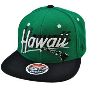 Flat Bill Snapback Zephyr Green Black White Hat Cap