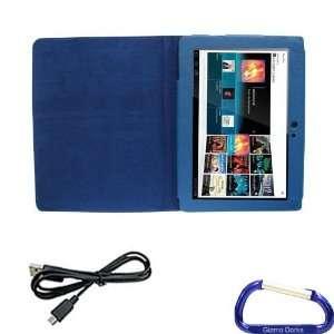 Gizmo Dorks Faux Leather Folio Case (Blue) and Micro USB