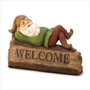 Sleepy Garden Gnome Welcome Sign Patio, Lawn & Garden
