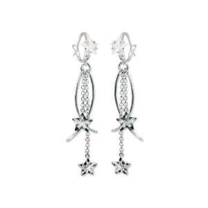 White Gold, Star Design Long Drop Earring Lab Created Gems Jewelry