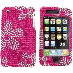 iPhone 3G s 3Gs Bling Hard Case Clear Daisies Pink Gems Electronics