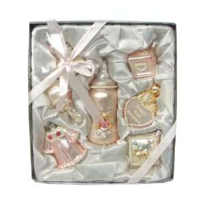 Piece Pink Baby Girls First Christmas Ornament Keepsake Gift Box
