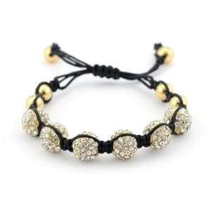 Inspired 6 Pave Crystal and Gold Bead Bracelet SusanB. Jewelry