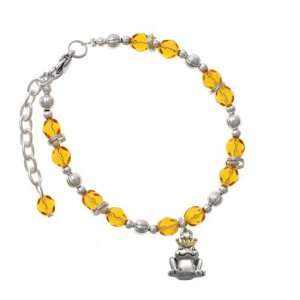 Frog Prince with Gold Crown Yellow Czech Glass Beaded Charm Bracelet