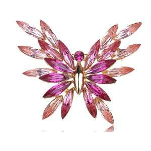 Elegantly Abstract Rose Swarovski Crystal Element Butterfly Pin Brooch