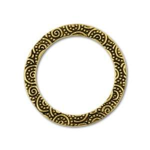 25mm Antique Gold Plated Spiral Ring Link Arts, Crafts