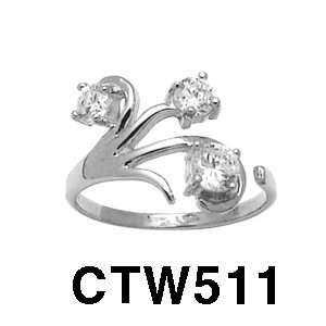 14k Fancy Cubic Zirconia Toe Ring (White Gold) Jewelry