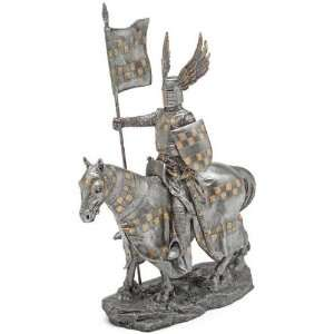 Medieval Knight in Armor on Horseback Statue   Wielding