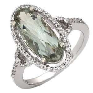 14k White Gold Natural Diamond & Green Amethyst Ring Jewelry