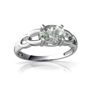 14K White Gold Oval Genuine Green Amethyst Ring Size 9 Jewelry