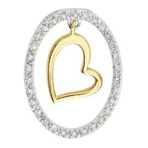 diamonds with dropping yellow gold heart on center of 14K white gold