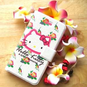 hello kitty flower flip leather case for iphone 4 4G with