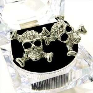 Large 1 Hip Hop ICE CUBE Cross & Bones Skull Stud Earrings with