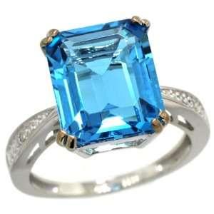 White Gold ( 12x10 mm ) Large Stone Engagement Swiss Blue Topaz Ring
