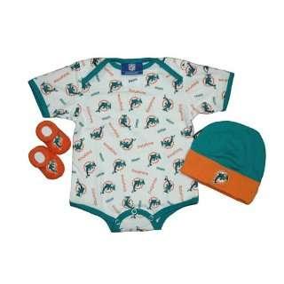 Miami Dolphins Newborn NFL Hat, Bootie, and Onesie Gift