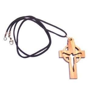 Large Modern Crucifix celtic Style   olive wood necklace (necklace