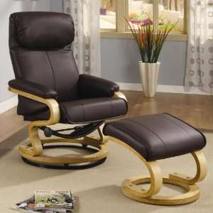 Recliner Brown Leather Chair w/Ottoman by Coaster Fine