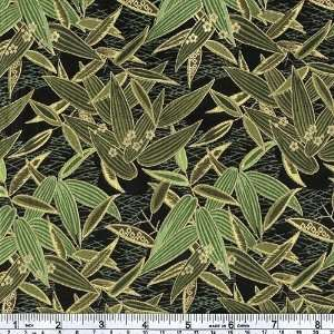 45 Wide Sun and Moon Leaves Green Fabric By The Yard