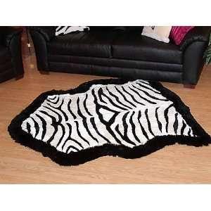 Zebra Print Australian Sheepskin Rug (black border)