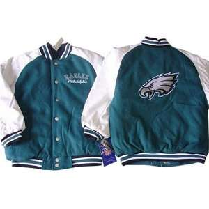 Eagles NFL Youth/Kids Pleather/Wool Varsity Jacket Sports & Outdoors