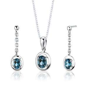 Oval Shape London Blue Topaz Pendant Earrings and 18 inch Necklace Set
