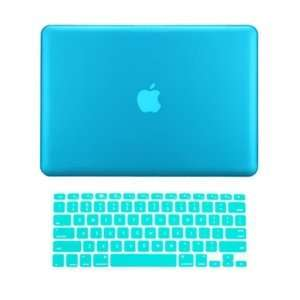Rubberized AQUA BLUE Hard Case Cover and Keyboard Cover for Macbook