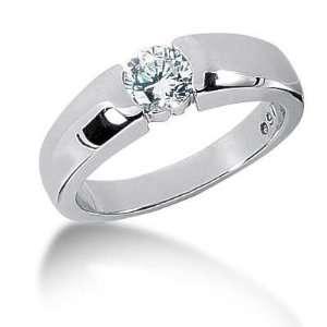 Men s 18K Gold Diamond Ring 1 Round Stone 0.85 ctw 10218K
