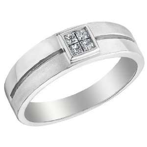 Mens Diamond Wedding Band 1/7 Carat (ctw) in 14K White Gold, Size 10.5