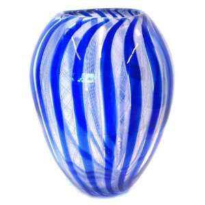 Murano Art Glass Vase Blue with Filigranna A63 with