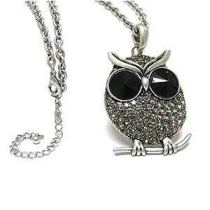 Silver Crystal Big Eye Owl Pendant Necklace Fashion