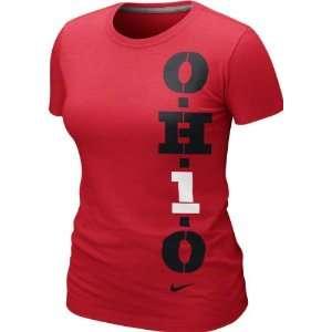 State Buckeyes Womens Red Nike Gridiron T Shirt