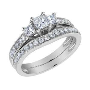 Three Stone Princess Cut Diamond Engagement Ring & Wedding Band Set 1