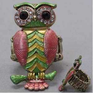 Owl Ring, Stretchable, with Stones, 3/4 W, 1 1/2 L , Gold / Green