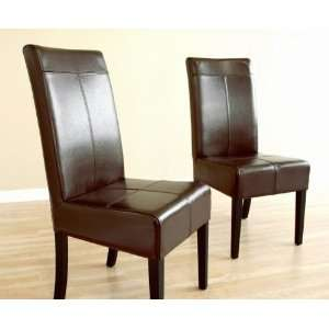 Set of 2 Parson Dining Chairs in Dark Brown Bycast Leather