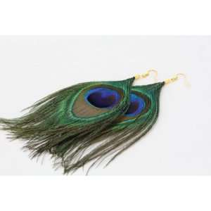 Green & Blue Peacock Feather Large Drop Earrings Sports