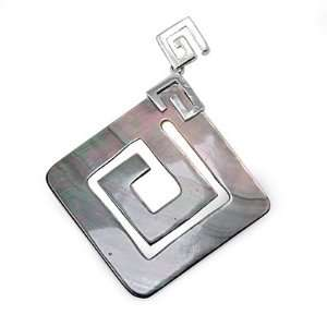 High Rhodium Plated Brass Letter G Shell Abalone Pendant Jewelry