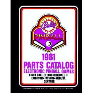 1981 Bally Pinball Machine Coin Op Game Parts Manual