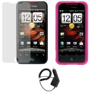 GTMax Rapid Car Charger + Hot Pink Silicone Skin Soft Cover Case + LCD