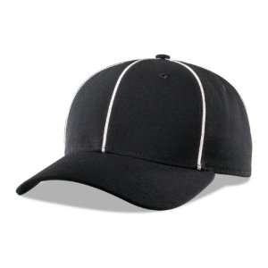 Umpire Fitted Ball Cap BLACK W/ WHITE PIPING 7 1/2
